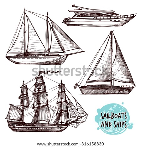 hand drawn retro sail ships and ...