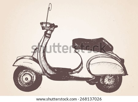 hand drawn retro scooter