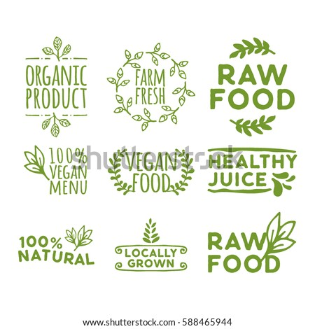 hand drawn retro set of organic product, farm fresh, raw food, healthy juice, 100% vegan menu, vegan food, healthy juice, locally grown and other natural badge