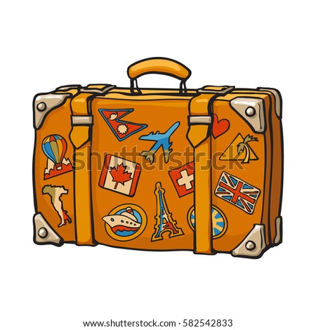 Hand drawn retro style travel suitcase with colorful labels, sketch vector illustration isolated on white background.