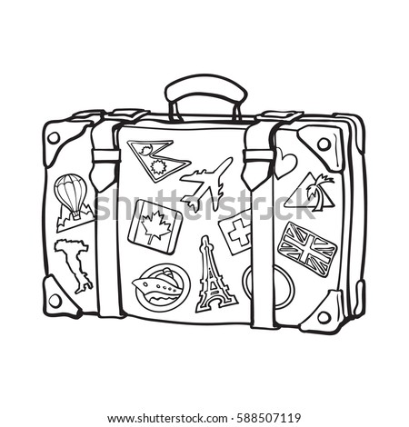 Hand drawn retro style travel suitcase with labels, black and white sketch vector illustration isolated on white background. Realistic hand drawing of old fashioned suitcase with tourist labels
