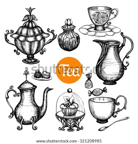 Hand drawn retro tea set with teapot cup cake isolated vector illustration
