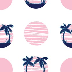 Hand drawn retro vawe illustration of summer vacation on tropical beach pink sunset with blue palm trees. Isolated vector seamless pattern on a white background