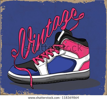 Hand drawn retro vintage shoes with background. Vector illustration.