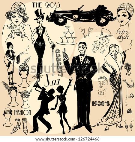hand drawn retro women and men