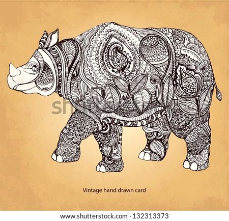 Hand drawn rhinoceros with elements of a flower ornament