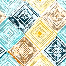 Hand drawn rhombus seamless pattern on white background.