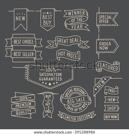 Hand drawn ribbons / banners set with handwritten messages on dark background. Vector illustration #395288986
