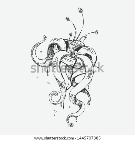 Hand drawn ring and floral with surrealism style. Retro style, Vintage style. Doodle line graphic design. Black and white drawings, Vector sketch. - Vector