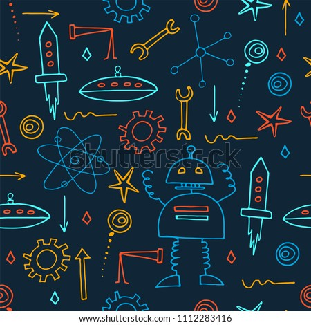 Hand drawn robots seamless pattern. School board background. Doodle vector.