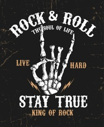 Hand drawn Rock festival poster. Rock and Roll hand sign.