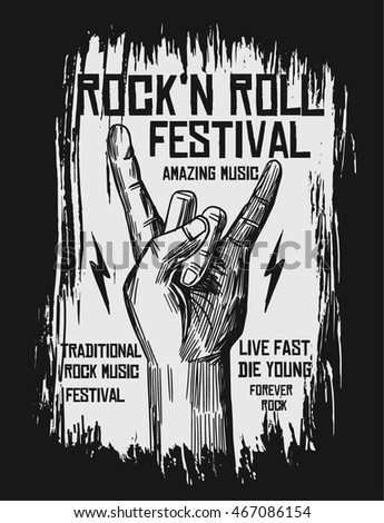 hand drawn rock festival poster....
