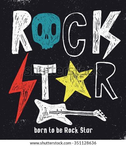 hand drawn rock star typography
