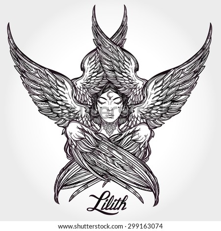 hand drawn romantic beautiful artwork of fallen angel lilith demon with 6 wings black moon. Black Bedroom Furniture Sets. Home Design Ideas