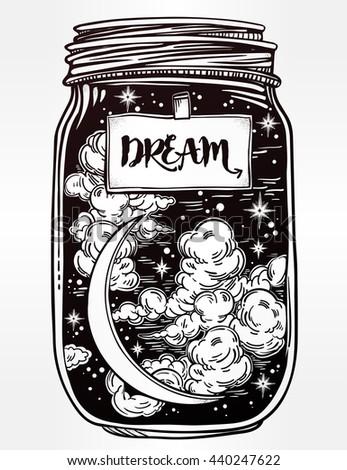 hand drawn romantic wish jar