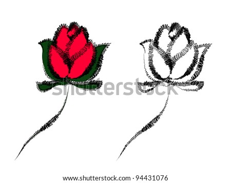 Hand drawn roses, outline and colored design