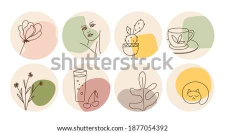 Hand drawn round boho icons and emblems for social media story highlight covers. Set of trendy vector design templates for bloggers, photographers and designers.