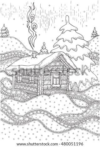 hand drawn rural winter