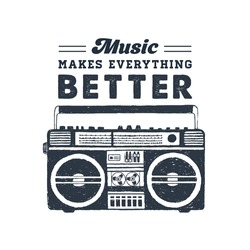 Hand drawn 90s themed badge with boombox recorder textured vector illustration and