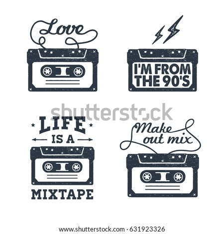 Hand drawn 90s themed set of badges with cassette tape textured vector illustration and inspirational lettering.