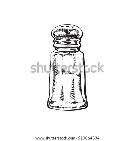 Hand drawn salt mill, shaker, grinder, sketch style vector illustration isolated on white background. Drawing black and white of salt grinder, shaker or mill, side view, colorful illustration Foto d'archivio ©
