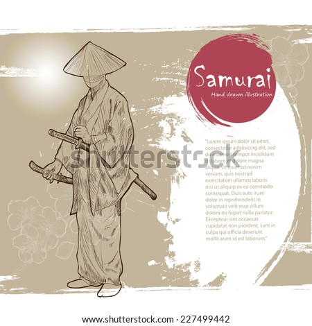 hand drawn samurai illustration
