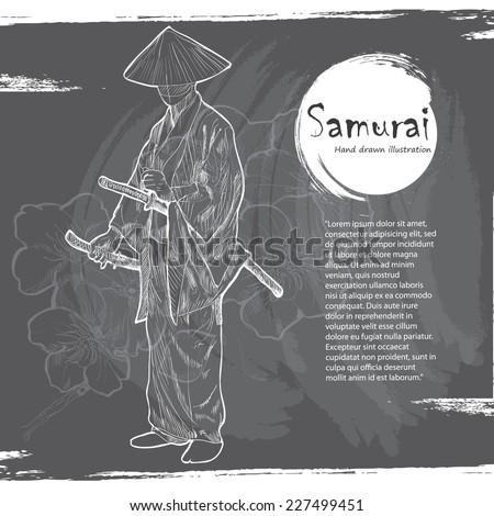 hand drawn samurai illustration