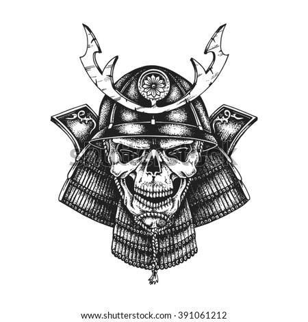 hand drawn samurai skull