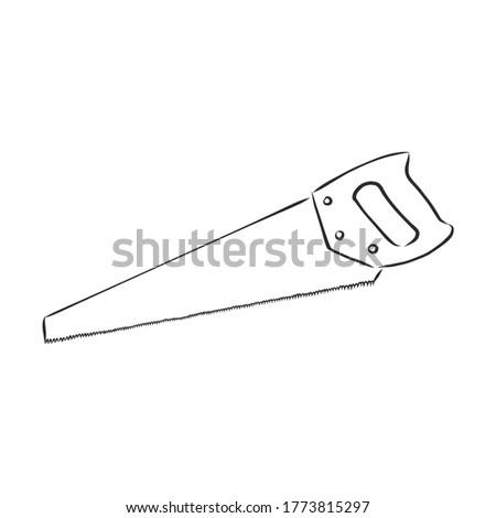 hand drawn saw. vector sawing tool. carpenter tool saw tool. sketch hand saw. hand saw vector sketch illustration