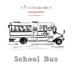 Hand drawn school bus symbol on white background. With text School bus. Vintage background. Good idea for chalkboard design. Vector illustration