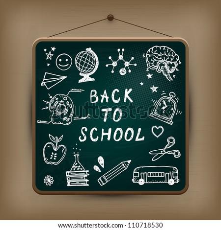 Hand-drawn school set. Back to school illustration. - stock vector