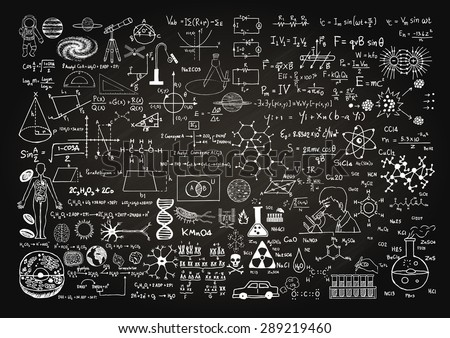 hand drawn science formulas on