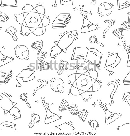 Hand Drawn Science seamless pattern