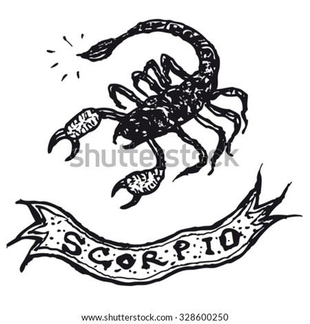 hand drawn scorpio horoscope