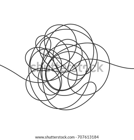Hand drawn scrawl sketch. Abstract scribble, chaos doodle. Vector illustration Isolated on white background