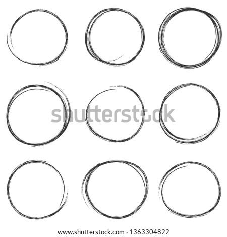 hand drawn scribble circles set