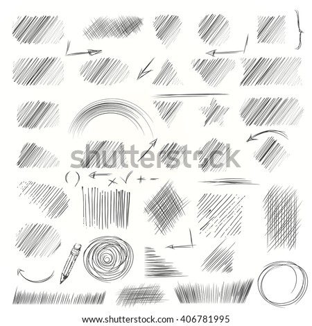 Shutterstock Hand drawn scribble shapes. A set of doodle line drawings. Pencil sketches. Vector design elements. Hatching with a pencil in vector