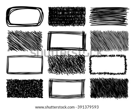hand drawn scribble squares, grunge vector frames