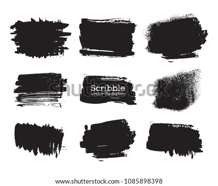 Hand drawn scribble symbols isolated on white background. Doodle style sketched Elements. Ink blots. Vector Grunge Brushes Stroke . rectangle Frame. Logo Design . #1085898398
