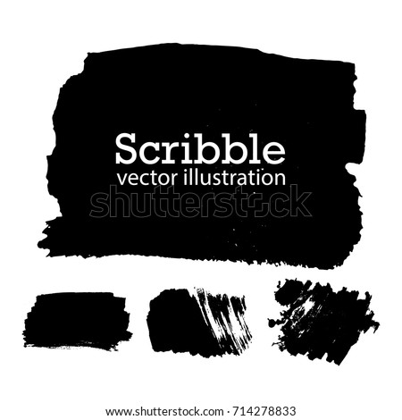 Hand drawn scribble symbols isolated on white background. Doodle style sketched Elements. Ink blots. Vector Grunge Brushes Stroke . Circle Frame. Logo Design . #714278833