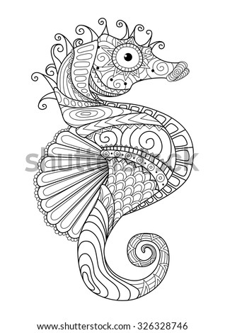hand drawn sea horse zentangle