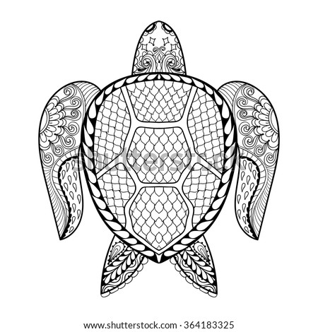 Hand Drawn Sea Turtle Mascot For Adult Coloring Pages In Doodle Zentangle Tribal Style Mehndi