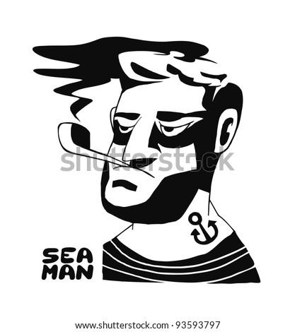 Hand-drawn seaman portrait.