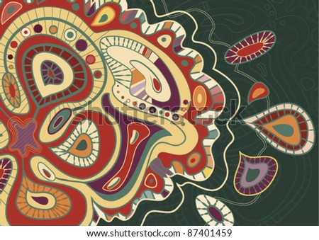 hand-drawn Seamless background from a paisley ornament. Vector Illustration on green Background
