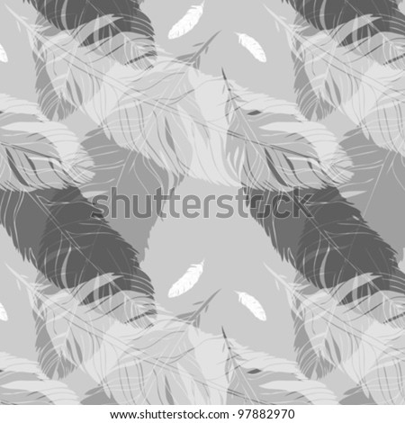 Hand Drawn Seamless Feather Pattern