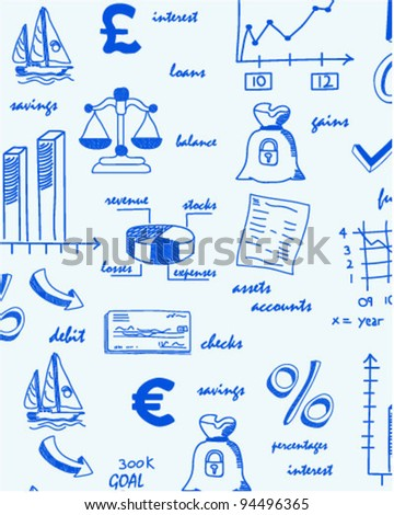 Hand Drawn Seamless Finance Icons      changeable background    vector eps10