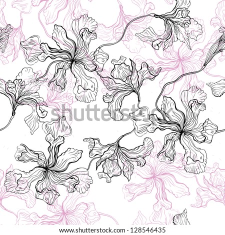 Hand drawn seamless floral pattern. Vector background.