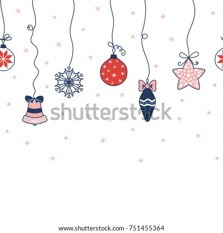 Hand drawn seamless horizontal vector pattern with Christmas ornaments hanging from the top, snowflakes, on a white background. Design concept for Christmas, winter, kids textile print, wrapping paper
