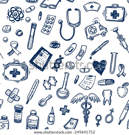 Hand drawn seamless medicine and healthcare background