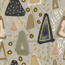 Hand drawn seamless oil ink pattern with triangles abstract element. Sketch design for print, home decor, textile, fashion fabric